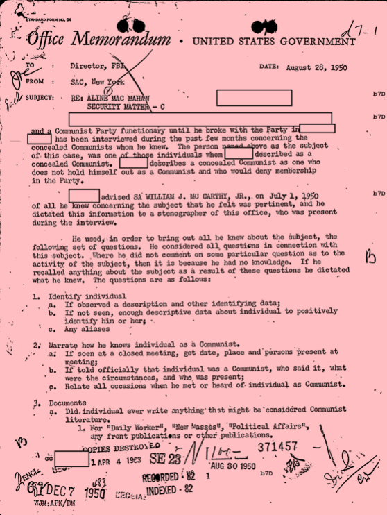 A memo from MacMahon's FBI file, stating that someone gave McCarthy MacMahon's name.