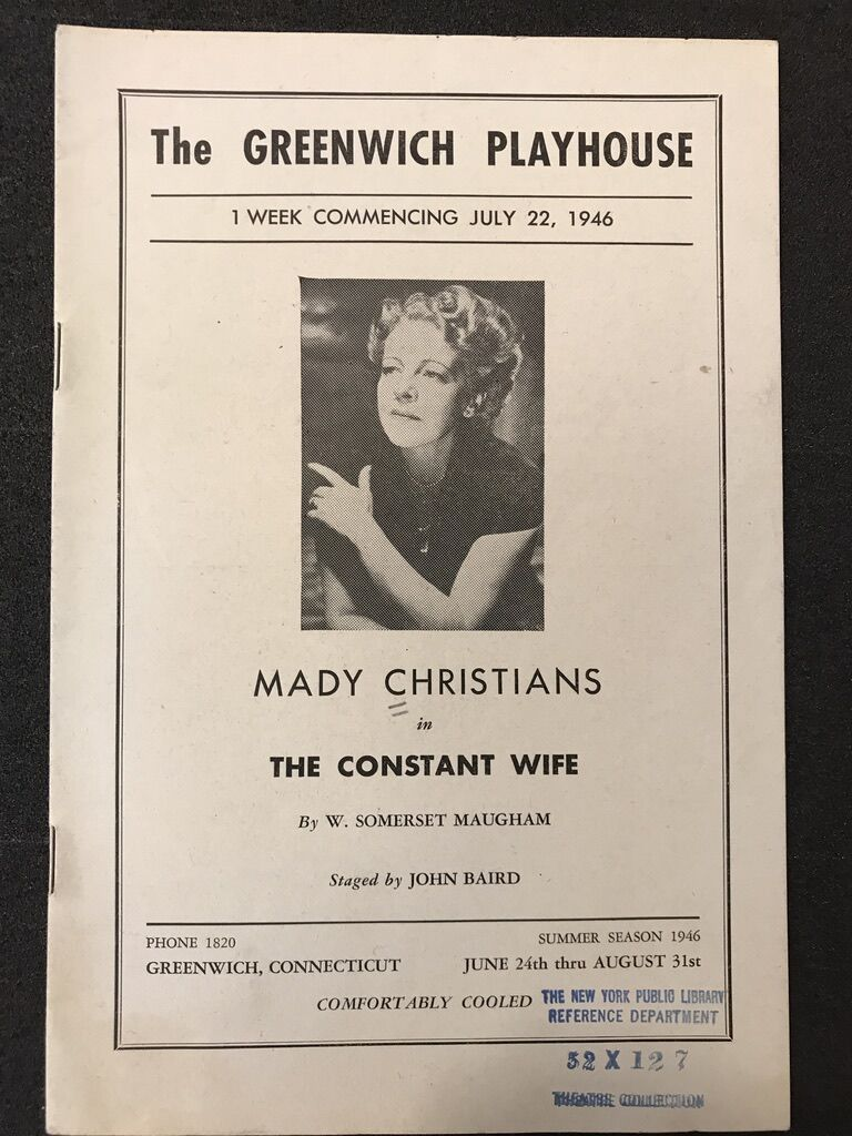Playbill for The Constant Wife