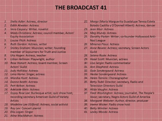 List of the Broadcast 41